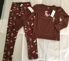 NWT Gymboree Parisian Chic Sz 7 Brown Dog Print Leggings & French Poodle Tee Top
