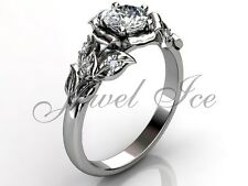 Platinum Unique Forever One Moissanite Flower Engagement Ring ERMZ-1061