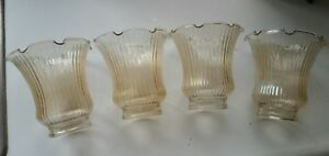 4 Ribbed & Brown Tinted Chandelier Vanity Globes (a67)