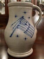Handmade Signed Stoneware Pottery Tall Tankard Mug Stein American Flag In Blue