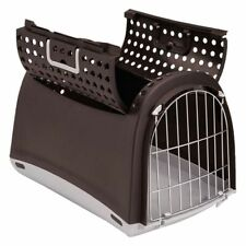 Cat Pet Transport Box Convertible Top Metal Mesh Door Lock Ventilation Holes