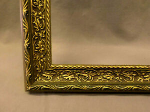 3498M Vtg 12x16 Gold Wood Frame Ornate Leaf Design Thin Bordered EXC ANTQ COND !