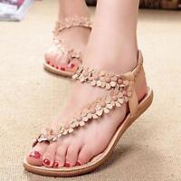 Summer Women's Bohemia Sweet Beaded Herringbone Clip Sandals Beach Leather Shoes