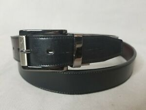 Genuine Leather Black Belt Size 46 Charcoal Gray Buckle Casual Dress Jeans