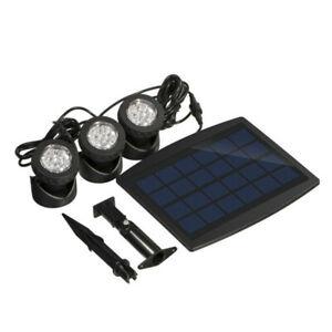 3 Heads Waterproof Solar Powered Light Garden Pool Pond Spotlight Lamp Warm/Cold