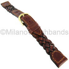 16mm Hirsch Genuine Leather Braided Brown and Black Stitched Watch Band 1556