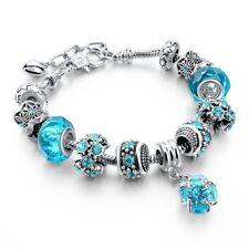 Largo Camino Azul Pulsera de perlas Tallado Astilla Plateado Serpiente Cadena Encanto Strand Brace