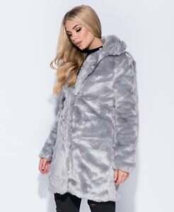 SALE Womens Ladies Celebrity Inspired Teddy Bear Fur Longline Coat UK Size 6-14