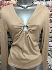 NEW H&M L Beige Tan Rib Jersey Ring Ruche Front Long Sleeve Top