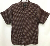 Marc Edwards 2XL XXL Burgundy Wine Geometric Short Sleeve Button Front Shirt