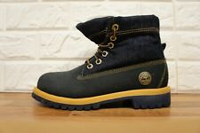 Timberland  Ladies Size 3 UK Blue Yellow Leather Roll Top Denim Boots Ladies