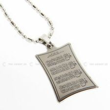 Silver Stainless Steel 4 Quls Pendant Necklace Islamic Gift Jewellery 24 inch