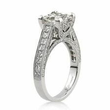 2.01CT PRINCESS CUT SOLITAIRE ENGAGEMENT DIAMOND RING 925S STERLING SILVER