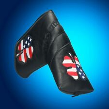 Black Leather Blade Putter Cover Headcover US Flag Lucky Clover Magnetic Closure