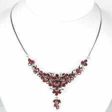Sterling Silver Genuine Natural Rich Deep Pink Ruby Cluster Necklace 18 Inch