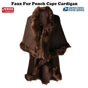 Women Knit Faux Fur Poncho Trimmed Shawl Cape Cardigan Sweater Jacket Scarf