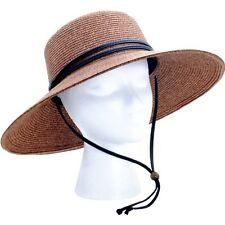 Womens Wide Brim Braided Sun Hat with Wind Lanyard Sun Protection Gardening Yard