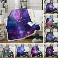 Galaxy Nebula Sherpa Blankets Plush Throw Sofa Bed Bedspreads Adults Babies