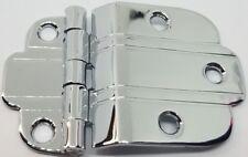 """POLISHED NICKEL Chrome 3/8"""" OFFSET MOUNT Art Deco Cabinet Hinge line Modern new"""