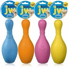 JW i Squeak Bouncin' Bowling Pin Durable Rubber Squeaky Dog Toy - Medium