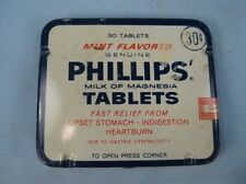 Vintage Phillips Milk Of Magnesia Tablets Tin Mint Flavored With Directions (O)