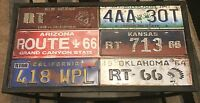 Retro Americana route 66 Table , Made From Distressed Metal, Really Unusual Item