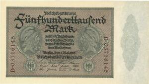 Germany Weimar Republic 500,000 Mark Currency Banknote 1923 CU