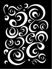 """Swirls Stencil Template Walls Pillows Signs T-Shirts Paint Lg 8.5"""" x 11.5"""""""