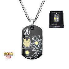 Inox Stainless Steel Iron Man Dog Tag Pendant With 24 Inch Chain Marvel