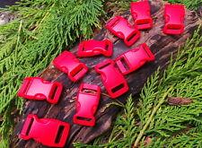 "10 x 15MM 5/8"" RED CONTOURED QUICK RELEASE PARACORD SURVIVAL BRACELET BUCKLES"