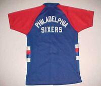 Philadelphia Sixers 76ers NBA Youth Boys Throwbacks Blue Shooting Warmup Shirt L