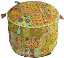 Green Indian Embroidered Patchwork Ottoman Cover Floor Cushion Pouf Stool Cover