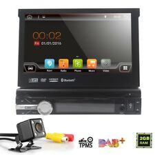 7''Quad Core Android 7.1 3G WIFI Single 1DIN Car Radio Stereo GPS DVD + Camera