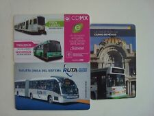MEXICO - BUS & SUBWAY - 3 RECHARGEABLE CARDS - FOR COLLECTION