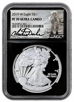 2019 W Proof American Silver Eagle NGC PF70 UC Blk Charlie Duke Signed SKU58673