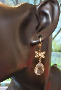 VINTAGE EARRINGS Pierced 70/80s Diamante Design Gold Tone Dangle DIAMANTE/BEAD.