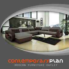 Ultra Modern Italian Leather Sectional Sofa Contemporary Design Grey Shades