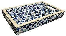 Handicrafts Home 12x8 Blue White Bone Decorative Tray Breakfast Coffee Table Top