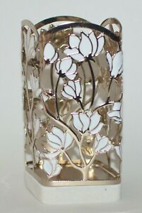 BATH BODY WORKS GOLD WHITE FLOWERS MARBLE GENTLE FOAMING HAND SOAP SLEEVE HOLDER