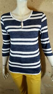 ESPRIT Taille XL - 42 Superbe tee shirt manches 3/4 bleu et blanc T-shirt