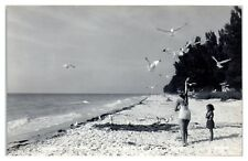 RPPC Beach Scene Indian Rocks, FL Mother and Daughter Real Photo Postcard
