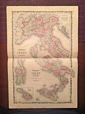 1863 Johnson & Ward Hand Colored Atlas Map of Italy