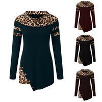 Womens Long Sleeve Leopard Sweatshirt Loose Plus Size Pullover Tops Blouse Shirt