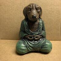 Dog Buddha Statue Green Robe Small Concrete Desk Shelf Decor FLAW