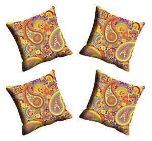 Cushion Cover Living Room Set of 4 Pcs Paisley Polyester Throw Pillow Sofa Couch