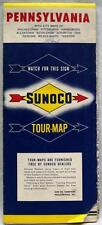 SUNOCO OIL SERVICE STATION PENNSYLVANIA HIGHWAY ROAD MAP 1959 VINTAGE TRAVEL