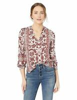 NEW!!! Lucky Brand Women's Border Print Peasant Top (Red/Ivory, Sz: Small)