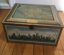 Antique Tin  Advertising Box  Airplane View Manhattan  New York City Art Deco