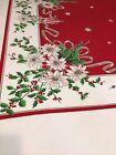 Vintage Christmas Tablecloth Cotton Grandma's Farmhouse Red Center Poinsettias