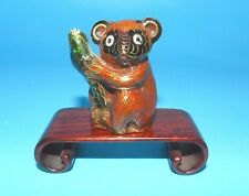 "Vtg Chinese Cloisonne Panda Bear Figurine With Stand Enamel Brass 1.75"" Figurine"